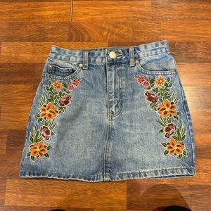 Forever21 Floral Denim Skirt
